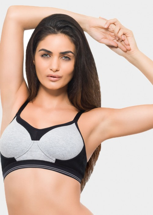 Athena-pro-shaper lightly padded high impact Active Bra-Gray